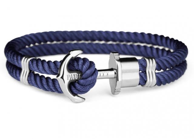 Bracciale con ancora Paul Hewitt PHREPS in metallo bianco e nylon blu