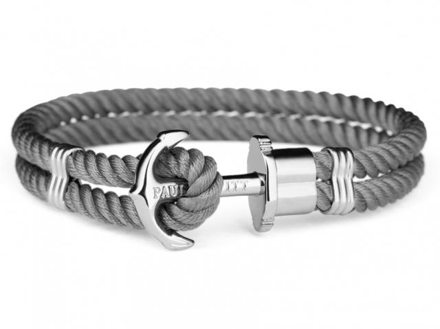 Bracciale con ancora Paul Hewitt PHREPS in metallo bianco e nylon grigio
