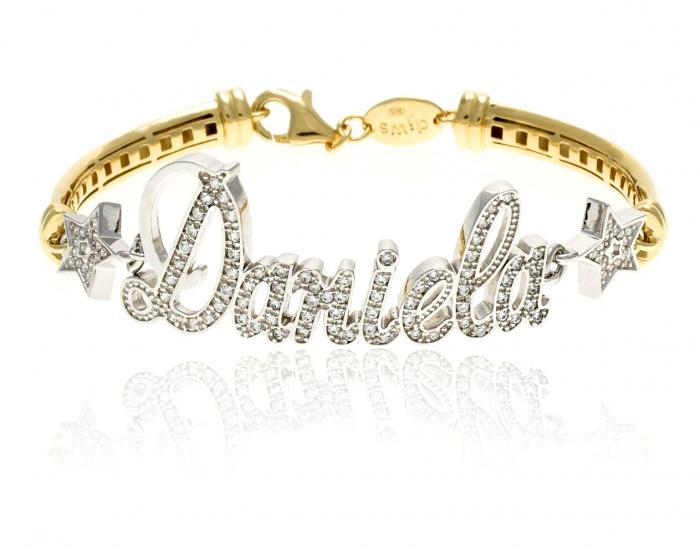 Bracciale con nome personalizzabile in argento 925% bianco e giallo e pavè zirconi