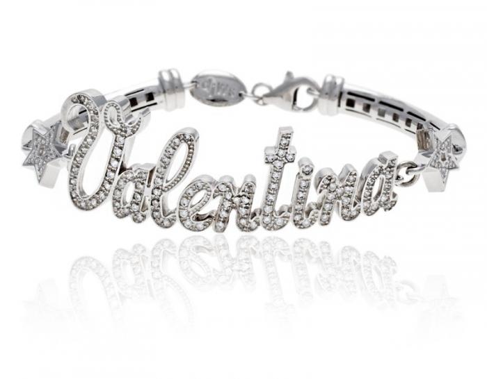 Bracciale con nome personalizzabile in argento 925% rodiato bianco e pavè zirconi