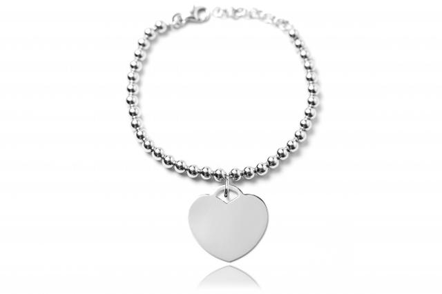 Bracciale con sfere in argento e cuore personalizzabile con incisione