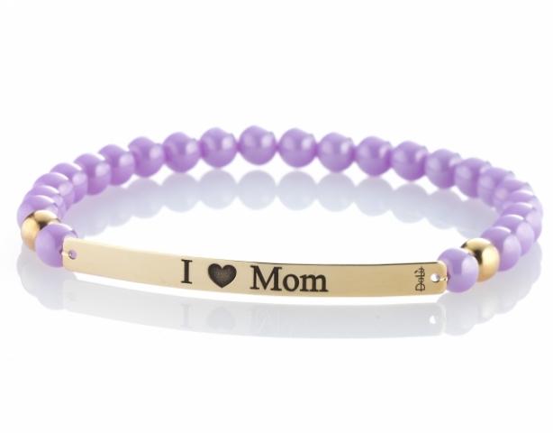 Bracciale DaLù a molla in ceramica e targhetta oro 18kt personalizzabile con nome della mamma