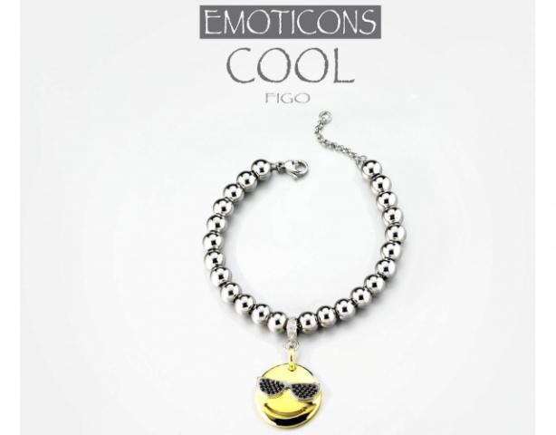 Bracciale Dimmi Jewels Emoticons smile Cool in acciaio e zirconi