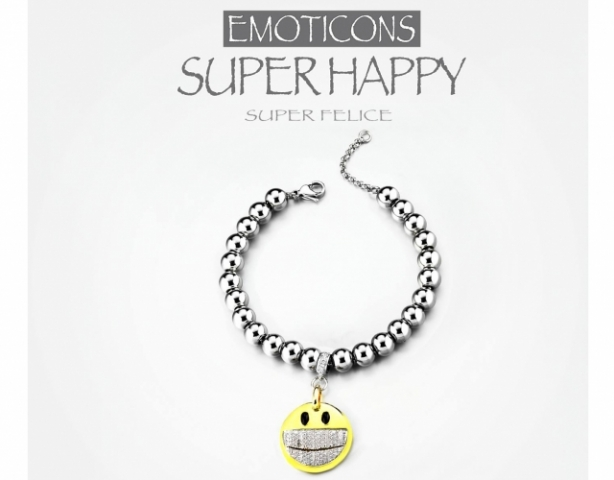 Bracciale Dimmi Jewels Emoticons smile Happy in acciao e zirconi