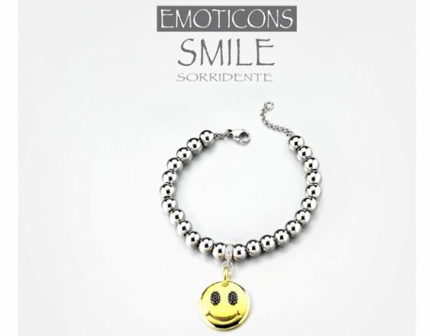 Bracciale Dimmi Jewels Emoticons Smile in acciaio e zirconi