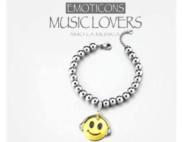 Bracciale Dimmi Jewels Emoticons smile Music in acciao e zirconi