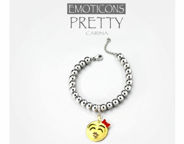 Bracciale Dimmi Jewels Emoticons smile Pretty in acciaio e zirconi