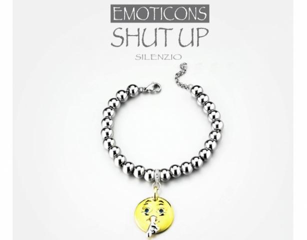 Bracciale Dimmi Jewels Emoticons smile Shut Up in acciaio e zirconi
