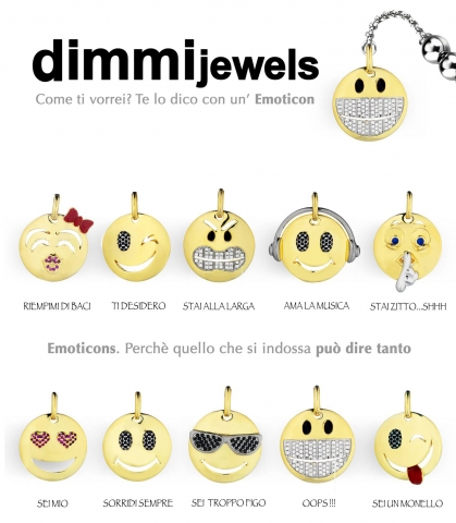 Bracciale Dimmi Jewels Emoticons smile Wink in acciaio e zirconi