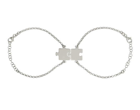 Bracciale doppio con puzzle divisibile personalizzabile in argento 925