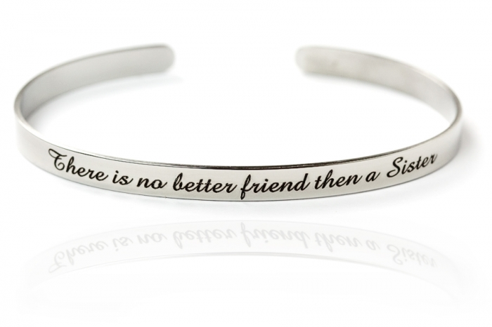 Bracciale in acciaio con frase There is no better friend then a Sister