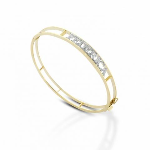 Bracciale Melissa a Manetta rigida in oro giallo 18kt personalizzabile con nome in oro bianco 18kt e diamanti