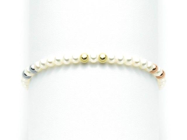 Bracciale Miluna in oro bianco giallo e rosa 18kt con Perle e 6 sfere lucide PBR2029