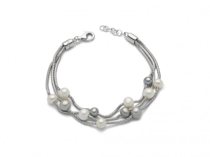 Bracciale multifilo con Perle in argento 925% MISS ITALIA PBR2835