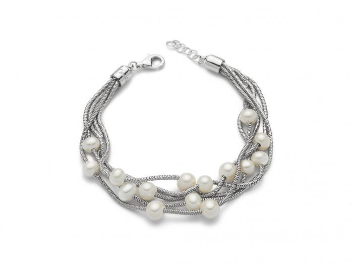 Bracciale multifilo con Perle in argento 925% MISS ITALIA PBR2836