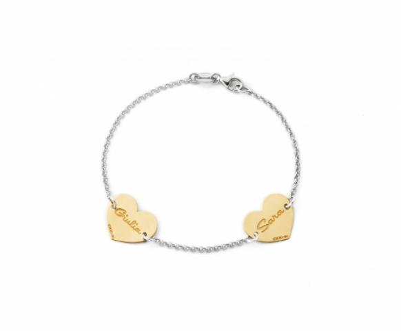 Bracciale My Charm con Cuori in oro 18kt giallo personalizzabile con nome