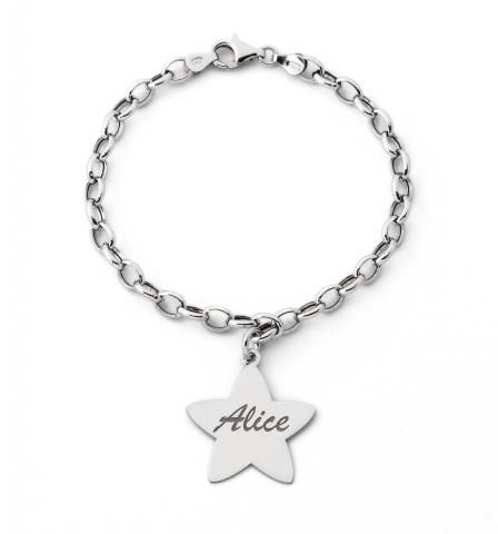 Bracciale My Charm con Stella in argento 925% rodiato personalizzabile con nome