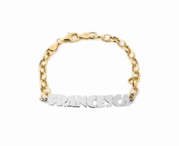 Bracciale My Charm in argento 925% bianco e giallo personalizzabile con nome