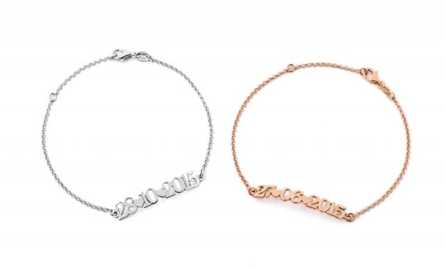 Bracciale My Charm in argento 925% bianco, giallo o rosa personalizzabile con data