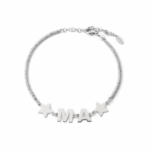 Bracciale My Charm in argento 925% bianco, giallo o rosa personalizzabile con iniziale del nome