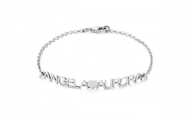 Bracciale My Charm in argento 925% bianco, giallo o rosa personalizzabile con nomi