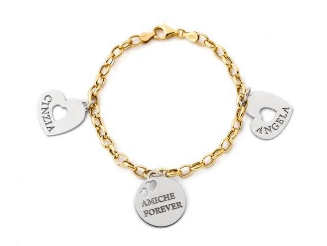 Bracciale My Charm in argento 925% rodiato personalizzabile con nome