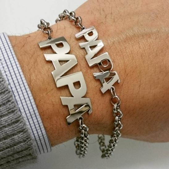 Bracciale Papà in acciaio personalizzabile con incisione del nome
