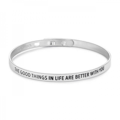 Bracciale S'Agapò by BrosWay collezione HAPPY con scritta - The good things in life are better with you