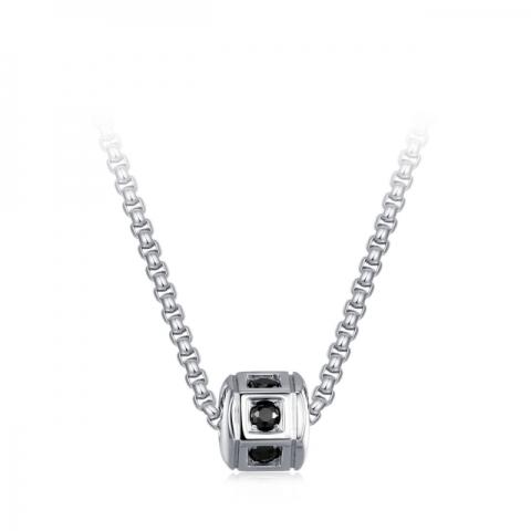 Collana da uomo S'Agapò by BrosWay collezione Hari in acciaio con cristalli neri