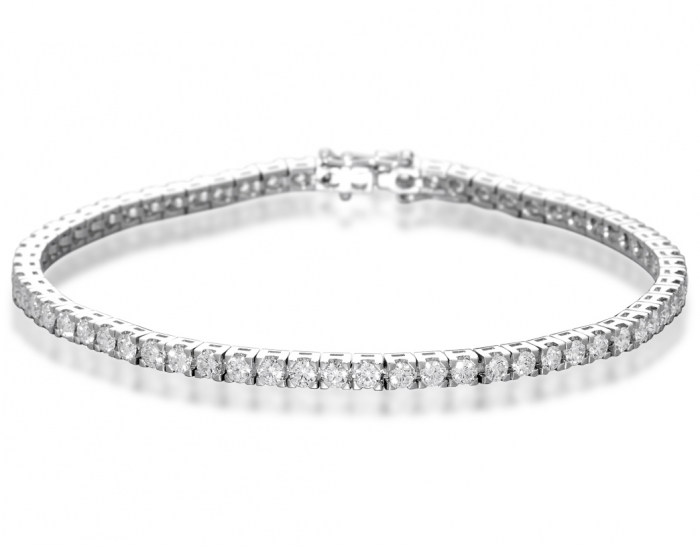 18K White Gold and 3.75ct Diamonds Tennis Bracelet