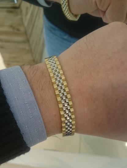 Bracciale tipo cinturino maglia Jubilee in oro bianco e giallo 18kt