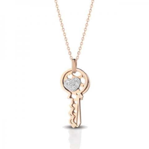 Catenina con ciondolo chiavi Melissa Jewels in oro 18kt e pavè diamanti