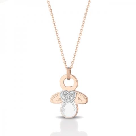 Catenina con ciondolo ciuccio baby Melissa Jewels in oro 18kt e pavè diamanti