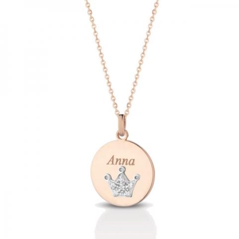 Catenina con ciondolo corona Melissa Jewels in oro 18kt e pavè diamanti personalizzabile con nome