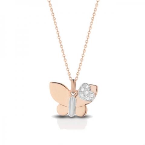 Catenina con ciondolo farfalla Melissa Jewels in oro 18kt e pavè diamanti