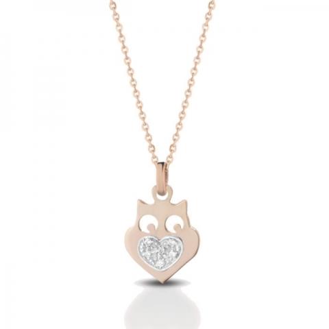 Catenina con ciondolo gufetto Melissa Jewels in oro 18kt e pavè diamanti