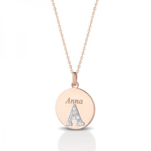 Catenina con ciondolo lettera Melissa Jewels in oro 18kt e pavè diamanti personalizzabile con nome