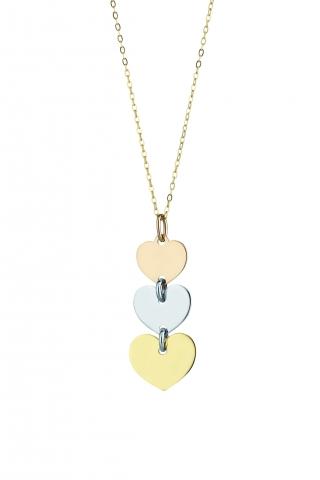 Catenina con ciondolo My Charm 3 cuore collezione Legami in oro giallo, bianco e rosa 18kt
