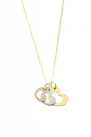Catenina con ciondolo My Charm 3 cuori collezione Legami in oro giallo, bianco e rosa 18kt