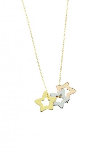 Catenina con ciondolo My Charm 3 stelle collezione Legami in oro giallo, bianco e rosa 18kt