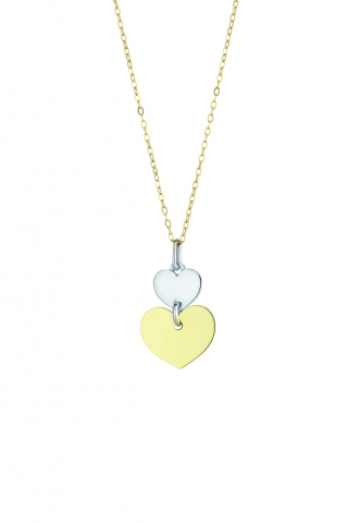 18K Yellow and White Gold Hearts Necklace