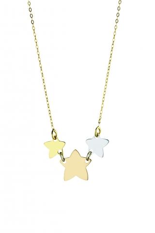 Catenina con ciondolo My Charm stelle collezione Legami in oro giallo, bianco e rosa 18kt