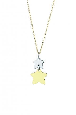Catenina con ciondolo My Charm stelle collezione Legami in oro giallo e bianco 18kt