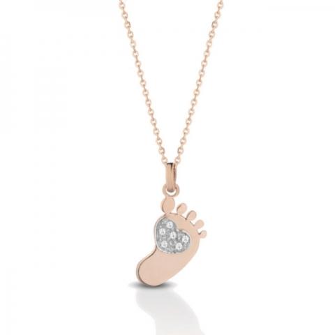 Catenina con ciondolo piedino baby Melissa Jewels in oro 18kt e pavè diamanti