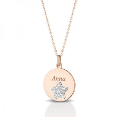 Catenina con ciondolo stella Melissa Jewels in oro 18kt e pavè diamanti personalizzabile con nome