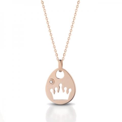 Catenina con ciondolo traforato corona Melissa Jewels in oro 18kt e diamante