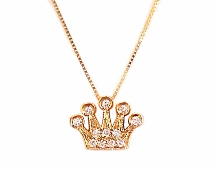 Catenina con Corona in oro 18kt e Diamanta Naturali 0.05ct purezza IF