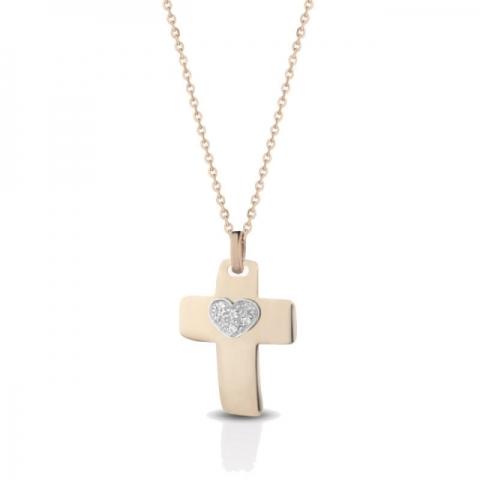 Catenina con Croce Melissa Jewels in oro 18kt e 0.05ct di diamanti
