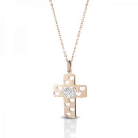 Catenina con Croce Melissa Jewels in oro 18kt e 0.06ct di diamanti