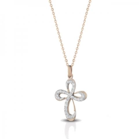 Catenina con Croce Melissa Jewels in oro 18kt e 0.08ct di diamanti